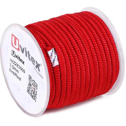 ∅3.0 - М228 - Шелковый плетеный шнур | Красный