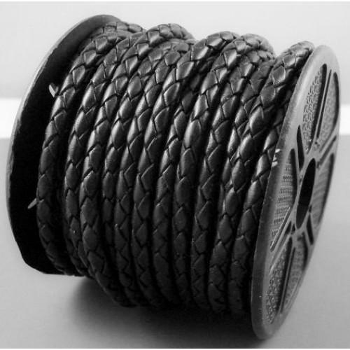 ∅4.0 Кожаный плетеный шнур (Индия) | Черный
