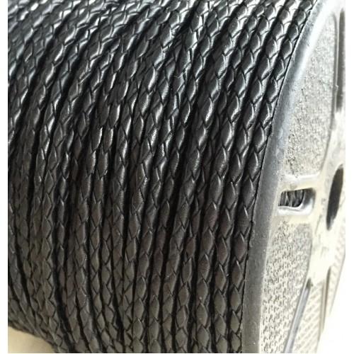 ∅3.0 Кожаный плетеный шнур (Индия) | Черный