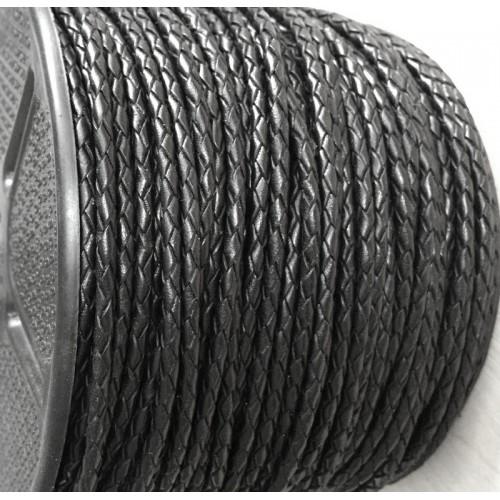 ∅2.5 Кожаный плетеный шнур (Индия) | Черный