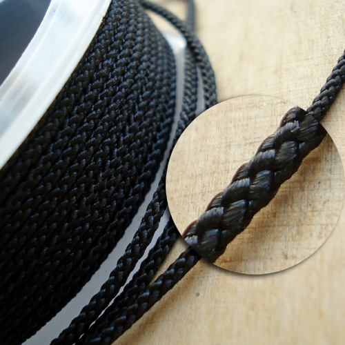 ∅2.0 - М229 - Шелковый плетеный шнур   Черный