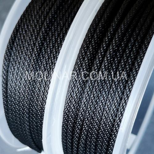 ∅2.0 - М214 - Шелковый плетеный шнур   Черный
