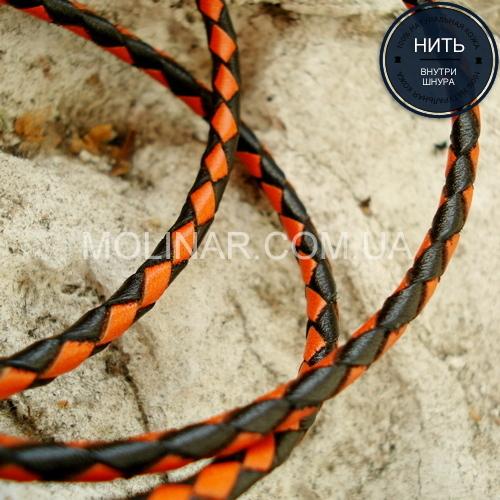 ∅3.0 Кожаный плетеный шнур (Krast) | Black & Orange