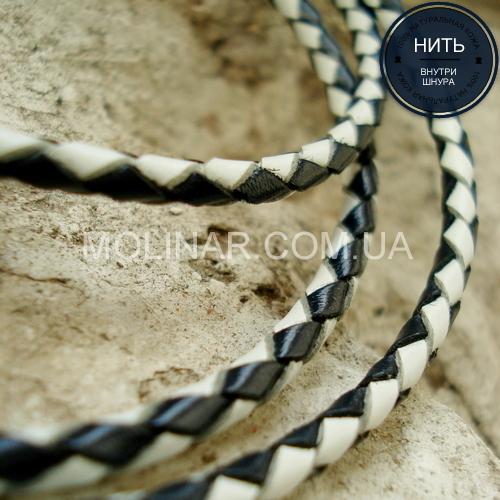 ∅3.0 Кожаный плетеный шнур (Krast) | Black & White