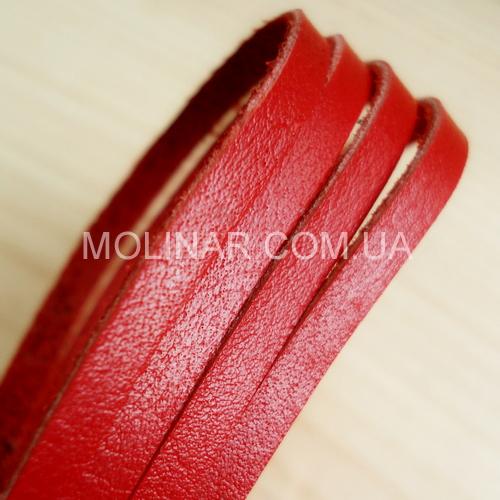 8.0 мм - Тесьма из натуральной кожи | Красный