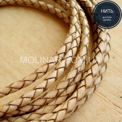 ∅3.0 Кожаный плетеный шнур (Krast) | Beige