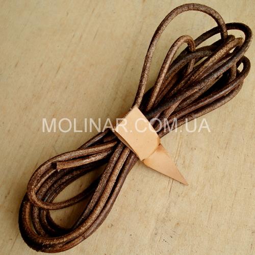 Шнурки кожаные для обуви 3.0х2400мм | Коричневый