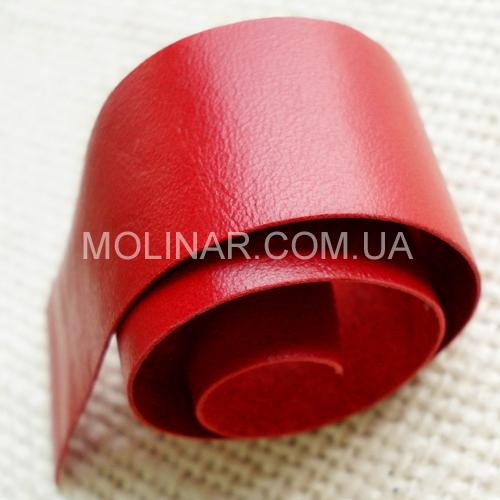 Лента (тесьма) окантовочная из натуральной кожи 25.0мм | Красный