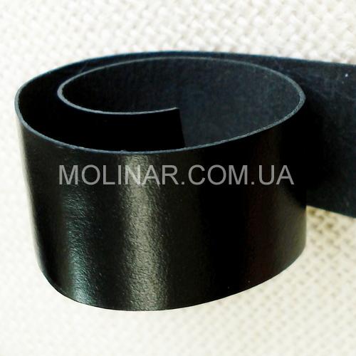 Лента (тесьма) окантовочная из натуральной кожи 15.0 мм | Черный